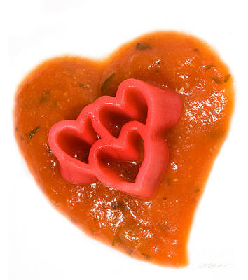 Tripple Red Pasta Hearts On Tomato Sauce Poster by Iris Richardson