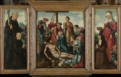 Triptych With The Lamentation Of Christ Center Poster by Litz Collection