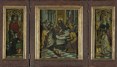 Triptych With The Last Supper And Donors Poster by Litz Collection