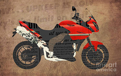 Triumph Motorcycle And The News Poster by Pablo Franchi