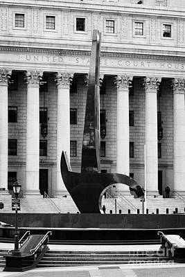 Triumph Of The Human Spirit Black Granite Sculpture By Lorenzo Pace Foley Square New York City Poster