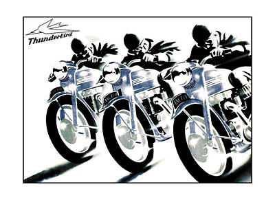 Triumph Thunderbird Trio Poster by Mark Rogan