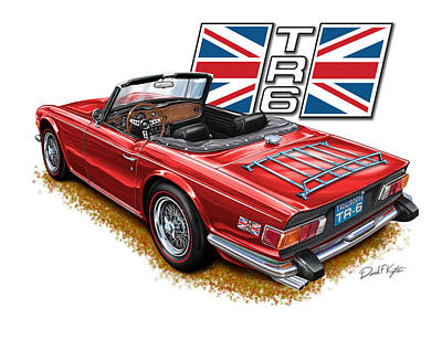 Triumph Tr-6 Red Wire Wheels Poster by David Kyte