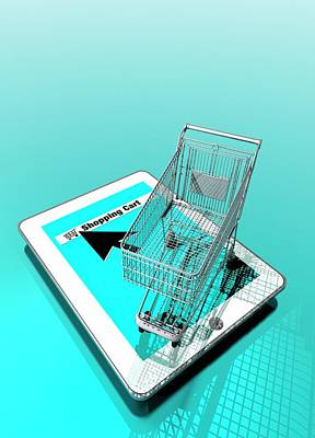 Trolley And Digital Tablet Poster by Victor Habbick Visions
