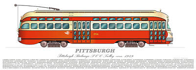 Trolley Pittsburgh Circa 1949 Poster by Carlos F Peterson