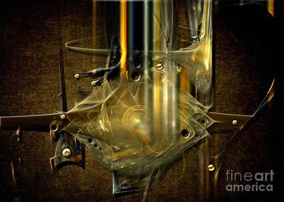 Poster featuring the digital art Trombone Machine by Alexa Szlavics