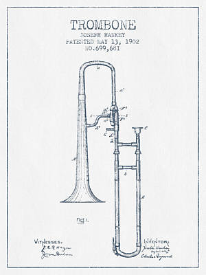 Trombone Patent From 1902 - Blue Ink Poster by Aged Pixel