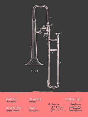 Trombone Patent From 1902 - Modern Gray Salmon Poster by Aged Pixel