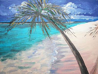 Poster featuring the painting Tropical Beach by Judy Via-Wolff