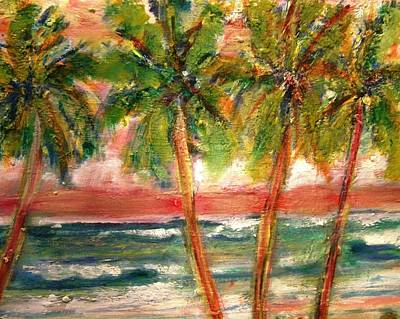 Tropical Color With Palm Trees Poster