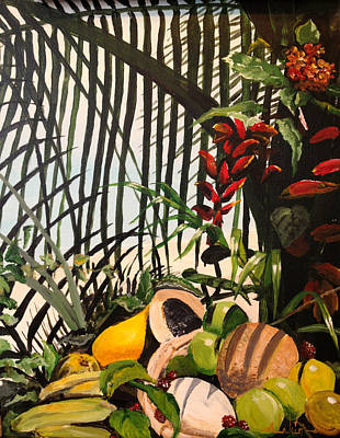 Poster featuring the painting Tropical Fruit by Alan Lakin