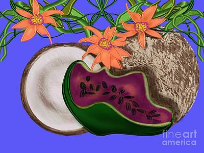 Tropical Fruit Poster by Christine Fournier