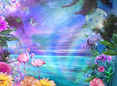 Tropical Moonlight Flamingos Poster by Alixandra Mullins