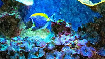 Tropical Seas Powder Blue Tang  Poster by Rosemarie E Seppala