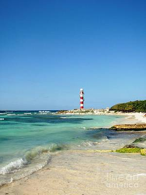 Tropical Seascape With Lighthouse Poster
