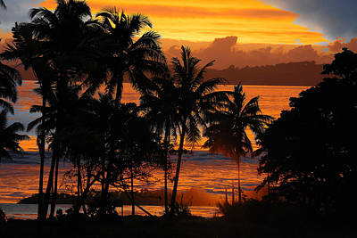 Poster featuring the photograph Tropical Sunset In Blues by Jocelyn Friis