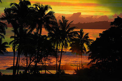 Poster featuring the photograph Tropical Sunset In Greens by Jocelyn Friis