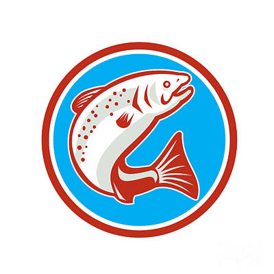 Trout Fish Jumping Circle Retro Poster by Aloysius Patrimonio