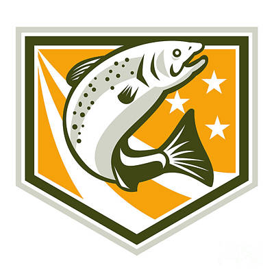Trout Jumping Retro Shield Poster by Aloysius Patrimonio