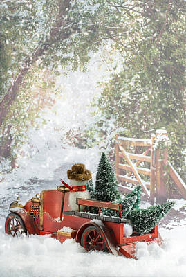 Truck Carrying Christmas Trees Poster