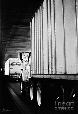 Truck Traffic In Tunnel Poster
