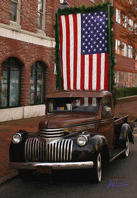 Truckin Old Glory Poster