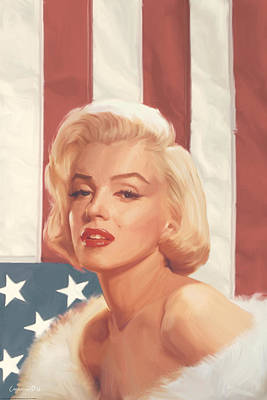True Blue Marilyn In Flag Poster by Chris Consani