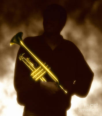 Man Holding Trumpet 1 Poster