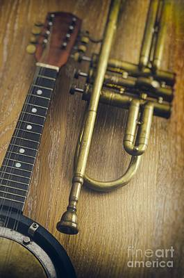 Trumpet And Banjo Poster by Carlos Caetano
