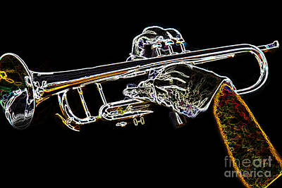 Trumpet Day Glow Poster by Tom Gari Gallery-Three-Photography