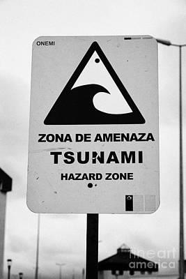 Tsunami Hazard Warning Zone Punta Arenas Chile Poster by Joe Fox