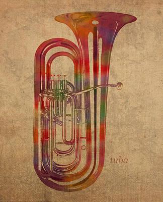 Tuba Brass Instrument Watercolor Portrait On Worn Canvas Poster