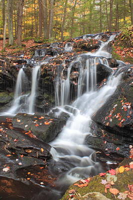 Tucker Brook Falls In Autumn Poster by John Burk
