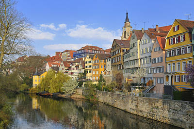 Tuebingen Neckarfront With Beautiful Old Houses Poster by Matthias Hauser