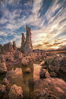 Tufas At Sunset On Mono Lake Poster by Sheila Haddad