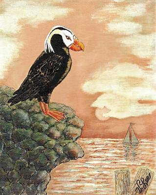 Poster featuring the painting Tufted Puffin At Dusk by VLee Watson