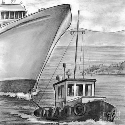 Tug Boat Towing Cruise Ship Poster