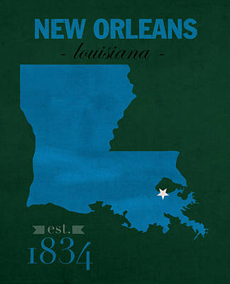 Tulane University Green Wave New Orleans Louisiana College Town State Map Poster Series No 114 Poster by Design Turnpike