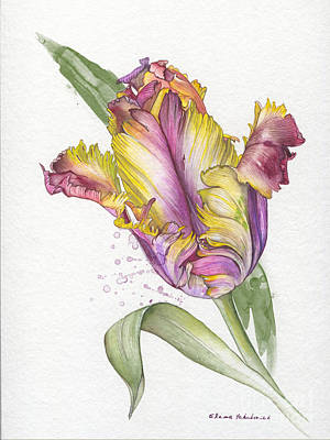 Poster featuring the painting Tulip -  Elena Yakubovich by Elena Yakubovich