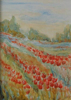 Poster featuring the painting Tulip Field by Jane  See