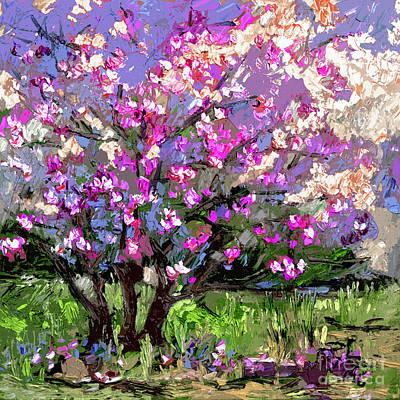 Tulip Magnolia Tree Modern Impressionist Art Poster