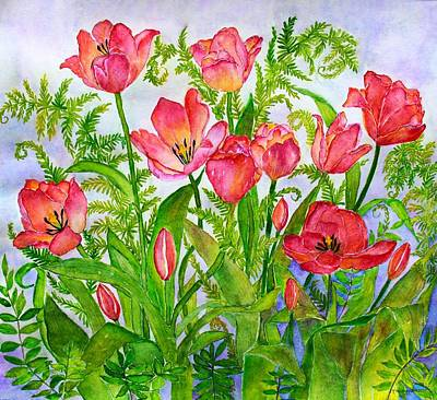 Tulips And Lacy Ferns Poster
