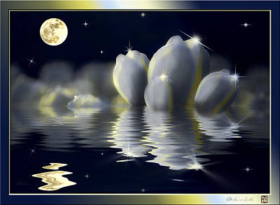 Tulips And Moon Reflection Poster