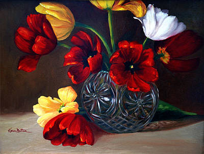 Tulips In Crystal Poster by Karen Mattson