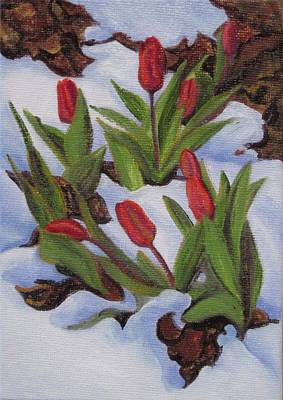 Tulips In Snow Poster