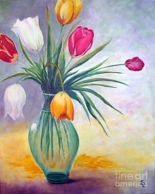 Tulips Poster by Nancy Czejkowski
