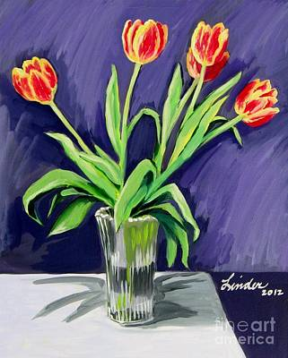 Tulips On The Table Poster