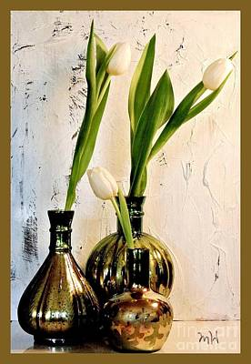 Tulips Three In Mercury Poster by Marsha Heiken