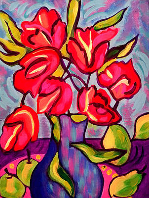 Tulips With Fruit Poster
