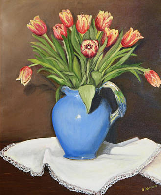Poster featuring the painting Tullips In Parrot Pitcher by Sandra Nardone